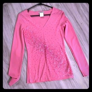 Sheer long sleeve glitter accent